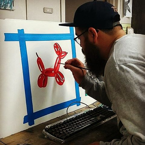 "@thebenmunoz • • Water color ""balloon animal"" • • #Texas #tx #art #spratx #paint #watercolor"