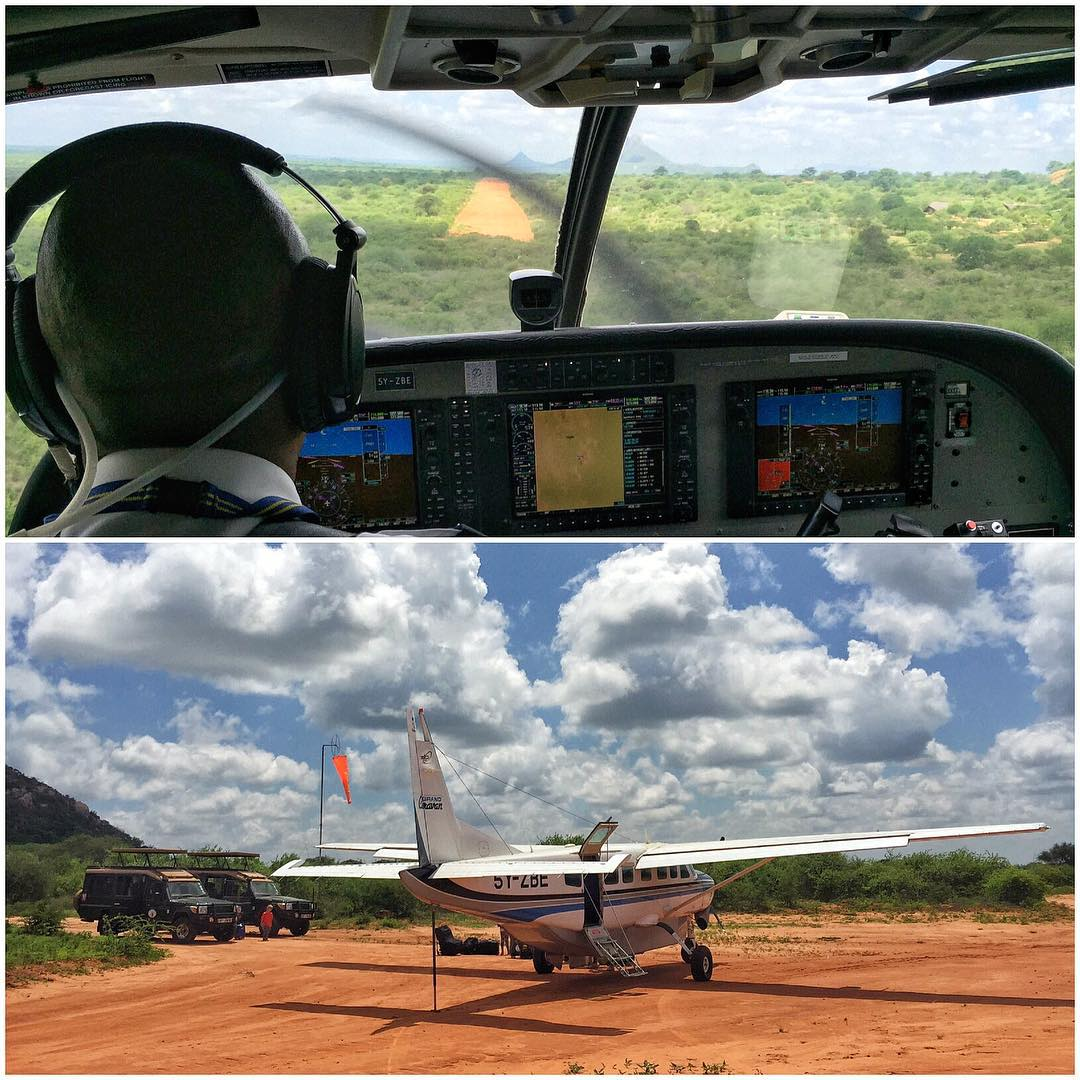 This is a first for me: flying in a small private plane and landing on a dirt airstrip! This is how we got down to the Ithumbu Hill area of the Tsavo East National Park, coming from Nairobi, Kenya earlier this week. #dirtystrip #safaritime #Kenya