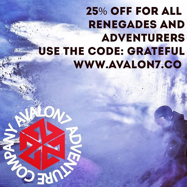 Thank you for being Renegades and Adventurers!  Super trendy online sale going on now at www.avalon7.co  Stay stoked this winter in one of our rad faceshields! Use the code:grateful when you check out.