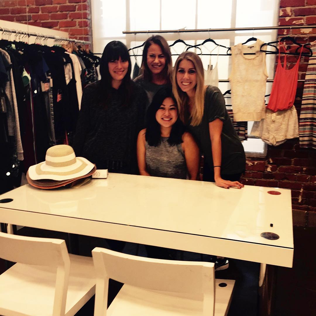 Meet the ladies of Showroom903 , West Coast  Women's Sales Team at T4T. To give back, Showroom903 donates clothing to battered women's shelters and homeless shelters in the LA area. #T4TGivesBack