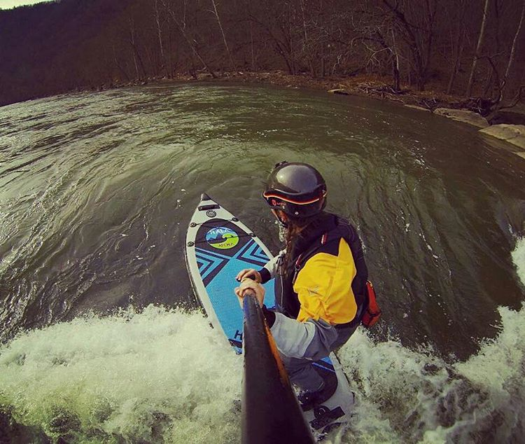 @wvmelanie surfing Nirvana Wave. The Nirvana Wave is only accessed by a down river trip located between Glade Creek and Grandview Sandbar public accesses on the New River, WV. Choose your board wisely for the class 2 rapids and for some surf along the...