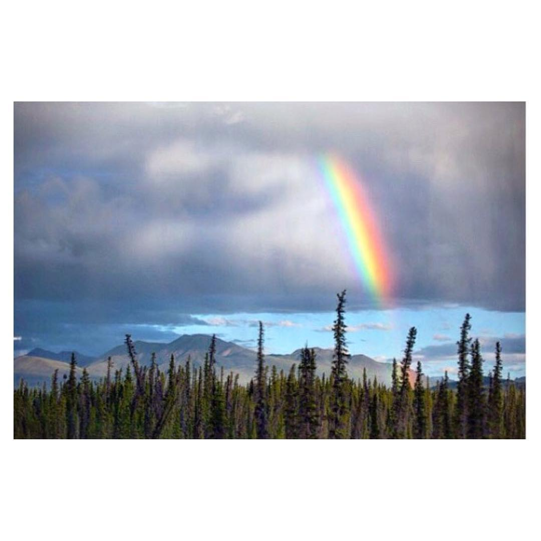 There's a bright side to every situation, a rainbow that pops up after the storm. You just have to keep your eyes peeled for it. Photo by @luciagriggi of our #goodhumancrew • #Indosole #TiresToSoles #SolesWithSoul • #rainbow #Alaska #nature