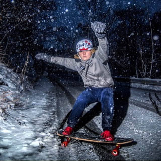 Winter is coming. Going sideways in the snow? No problem for the current @idfracing Women World Champion @emilylongboards. We know you know, but she's rad.  @barnardphoto photo.  #longboardgirlscrew #womensupportingwomen #skatelikeagirl #emilypross...