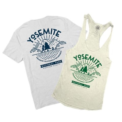H I S &  H E R S The mighty @yosemitenps tee is in! Each tee funds a meter of trail restoration in the park. Men's pocket tee and women's racerback.