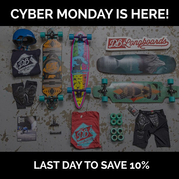 Today is your last chance to save 10% at DBlongboards.com! #dblongboards #cybermonday #longboard #longboarding