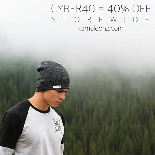 Head in the clouds CYBER40 = 40% OFF STOREWIDE @the_halfie wears the Heather Charcoal beanie #kameleonz #beanieseason #cybermonday #todayonly