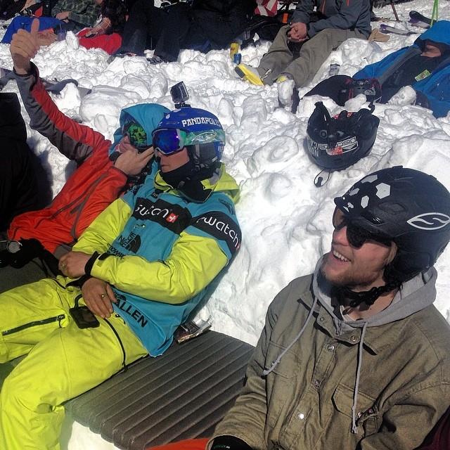 Drew Tabke and Oakley White-Allen analyze last week's venue during #FWT14 Snowbird, while Sander Hadley soaks up the stellar vibes... #PandaTribe in full effect... #TRIBEUP!  Photo: @tansnowman  @drewtabke @oakleywhiteallen @sanderhadley #pandapoles...