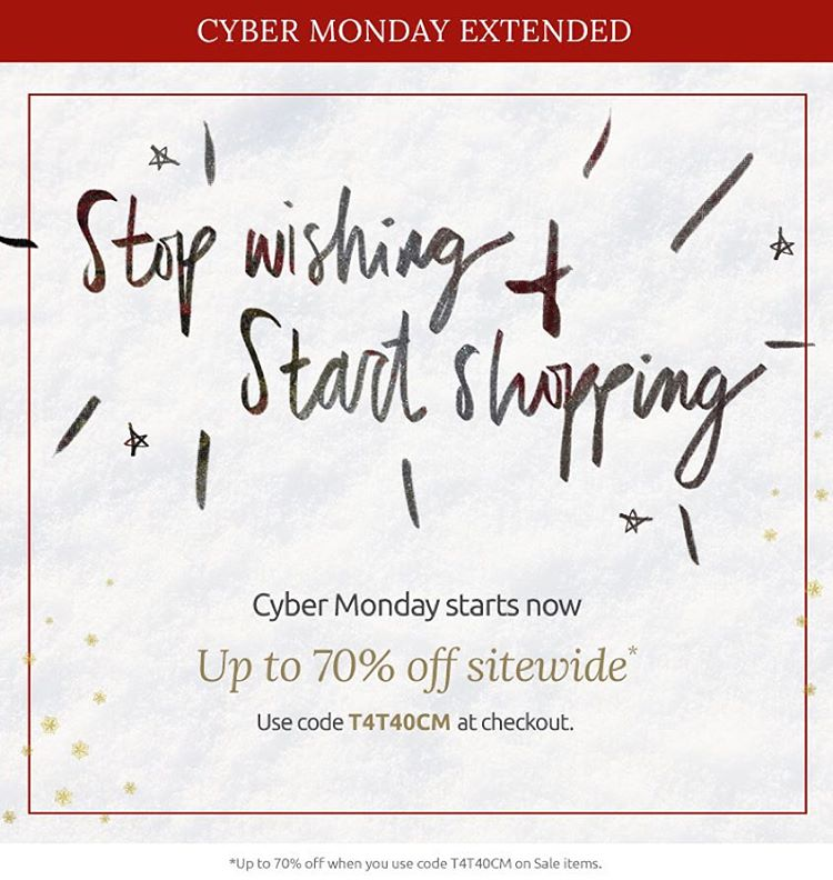Cyber Monday has been extended !! Last chance to save 40% site wide and up to 70% on sale items. Shop away!! #sale #cybermonday #deals #fashion #livesustainably