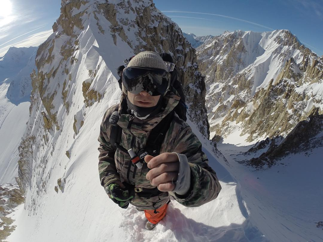 @travisrice takeover -- Ridge perch before riding 5K feet straight down to the valley floor! Lando is my lens clean? @MarkLandvik  #Godscountry #Thefourthphase #GoPro #GoProSnow