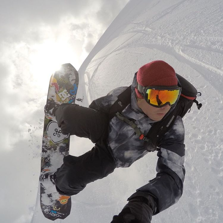 @travisrice takeover continues -- Spotting the landing on a soft BC wind lip last season.  Spent most of my winter last year riding my new Gold Member by @libtechnologies. #Backrodeo #Directionalgoesbothways #Bestboardever #bryaniguchionmytail #GoProSnow