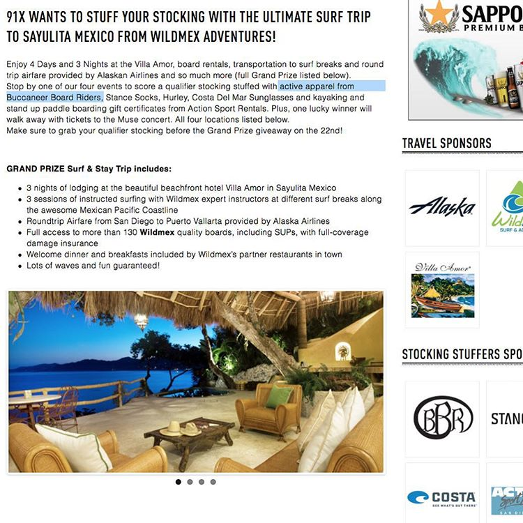 Win a surf trip to Mexico and other stocking stuffer prizes at 91X. Go to 91X.com to enter. Sponsored by BBR Surfwear and more. #91x #91xstockingstuffer #bbrsurfwear #trip #mexico #sponsored #bbr #bbrsurf #bbrsurfwear #buccaneerboardriders