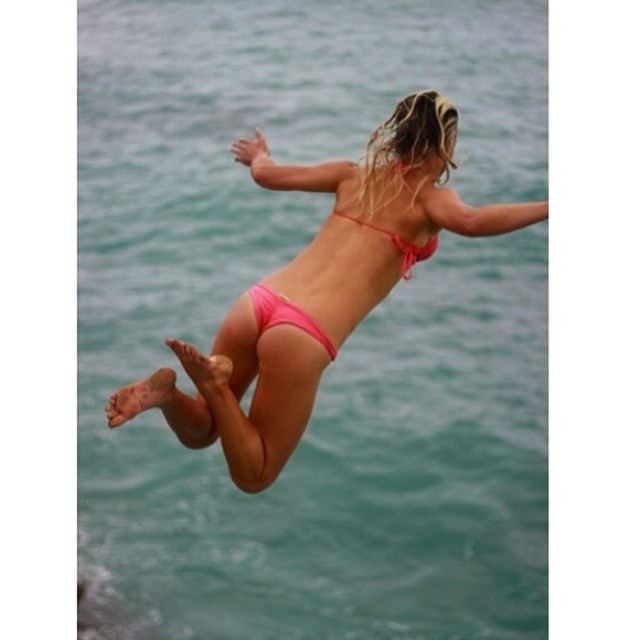 @carlywi #jumping for the #weekend! We are almost there! #boho #short #bottoms in #coral #withoutwalls #hawaii #bikiniadventure