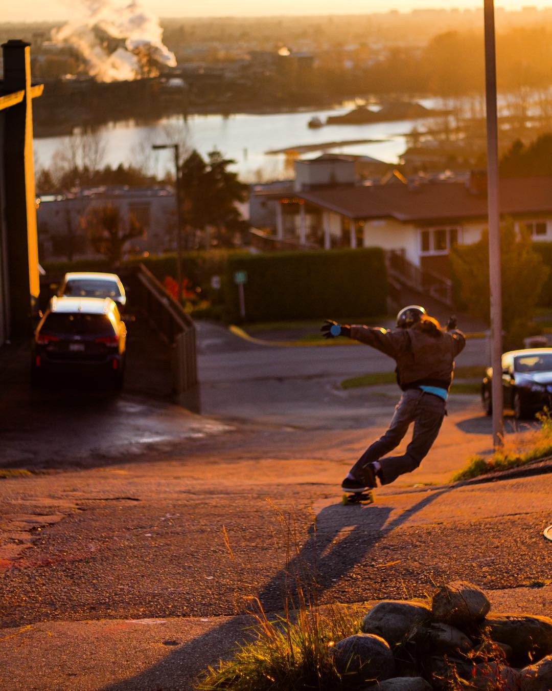 @dcarlsonskate gets down on a local chunder slab at golden hour