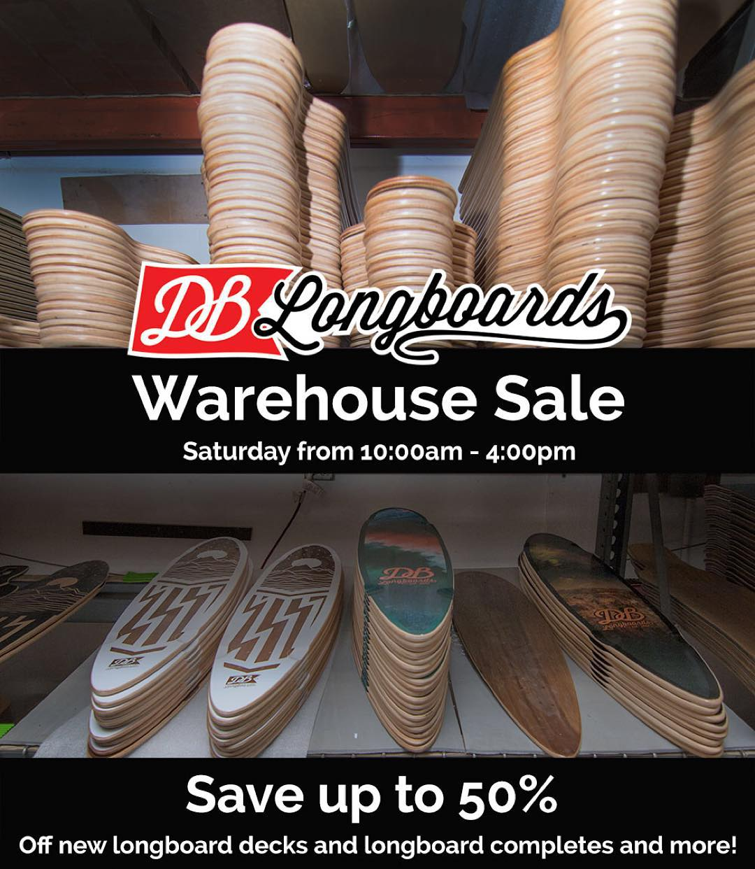 Come visit for our DB Warehouse Holiday Sale on December 5th, 2015! Save up to 50% off on new and used longboards, skate decks, bearings, wheels, grip tape, apparel and more. It goes down this Saturday from 10am-4pm. #longboard #longboarding...