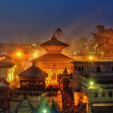 Pashupathi by night. The oldest Hindu temple in Kathmandu was erected in the 15th century. It attracts pilgrims from all over the world each year, most notably on Shivaratri when over 700,000 devotees attend the festival. In an offering to Shiva, ganja...