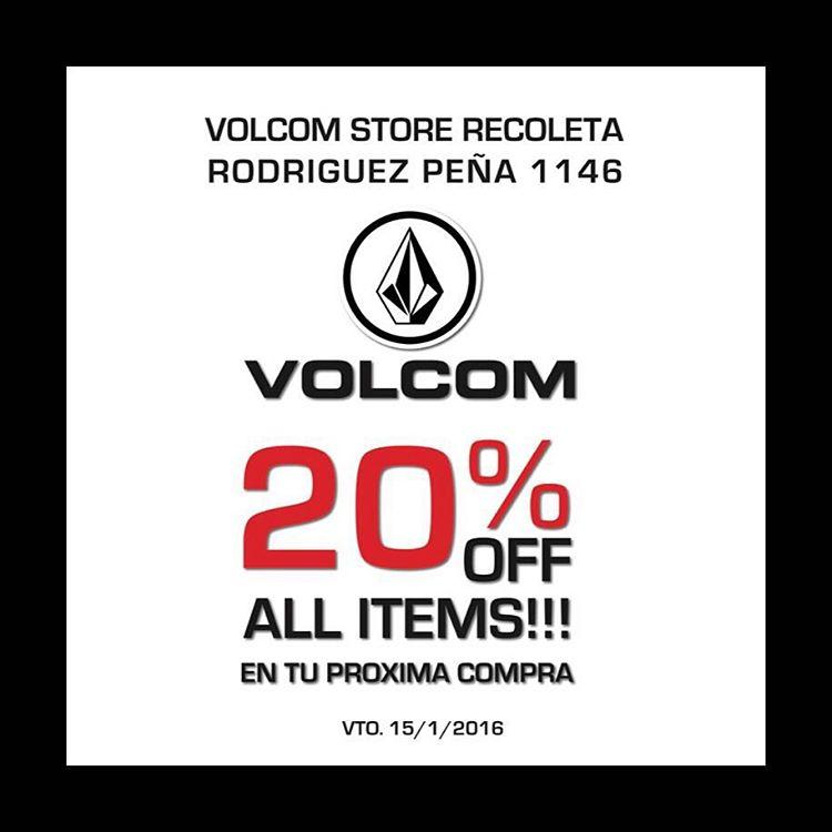 Good News! Comprando en nuestro #volcomstore Recoleta tenes un descuento en tu próxima compra de 20%. Te esperamos en Rodriguez Peña 1146.