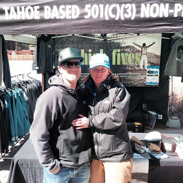"#High5ives to Barb from @mountainsportsintl and @thenorthface #PPOS judge Dave ""Swany"" Swanwick for supporting the @hi5sfoundation with new @bigtruckbrand hats!"