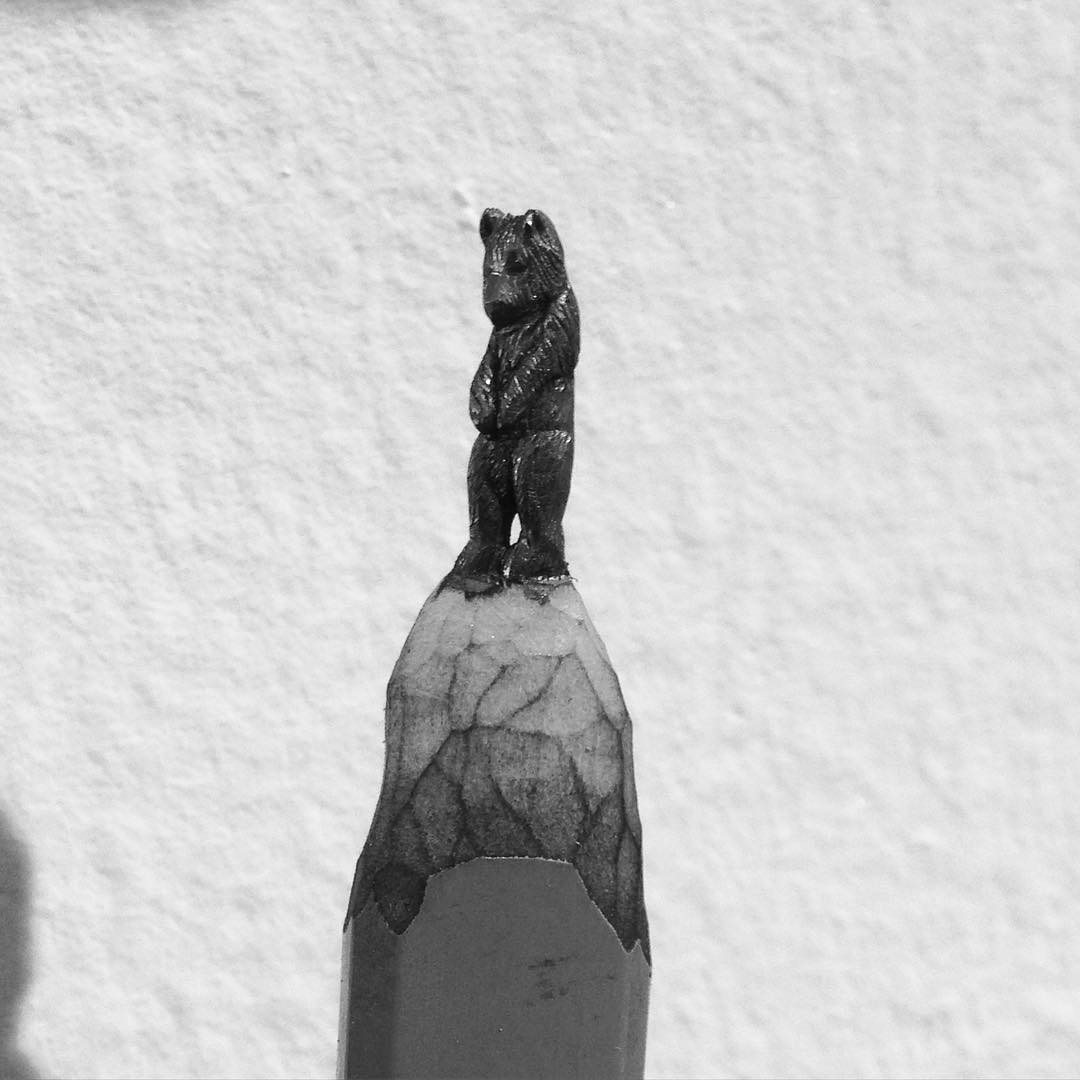 Diem Chau's carving of a bear from a pencil lead. Scope art show. #miamibeach #scope #scopeartfair #artbasel #diemchau