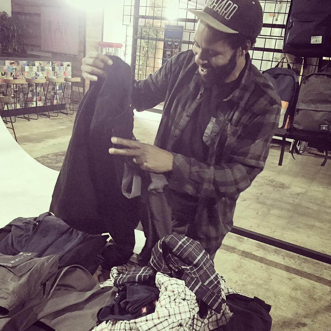 the #bestdudeever @r.barbee stopped by the branch today to put some finishes touches on a new signature apparel collection >>> stay tuned for the release in 2016 featuring art by @seancliver and photos by Ray >>> #raybarbee