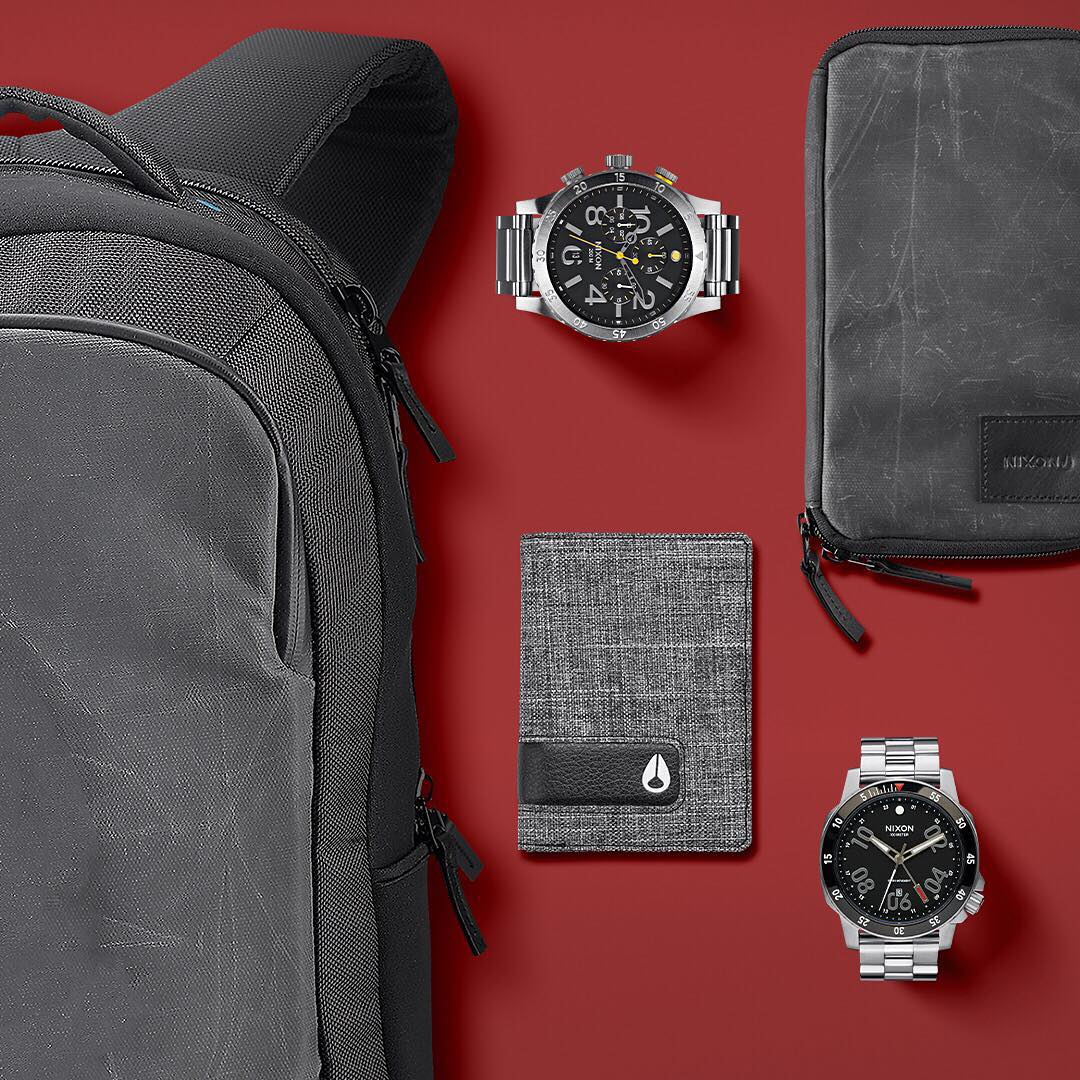 Essentials for the journey: The Shadow backpack, the #4820 Chrono, the Route passport holder, the #Ranger GMT and the Showoff wallet keep your personal effects in check as you journey to the ends of the earth and back. #Nixon #GetGifting