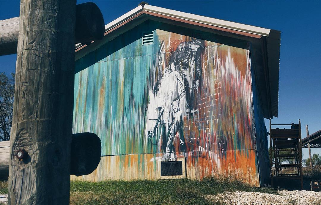 @elenizzle #niz • • Manor Texas • • #stencil #art #barn #graffiti #grafite #streetart #spratx Photo @_drazah