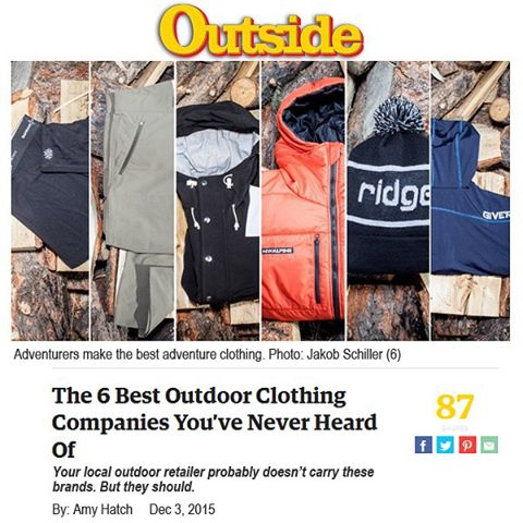 Psyched to make @outsidemagazine and BIG thanks to @garagegrown for making possible!  Give'r here: http://ow.ly/Vsq7Y #bestoutdoorclothing #garagegrowngear