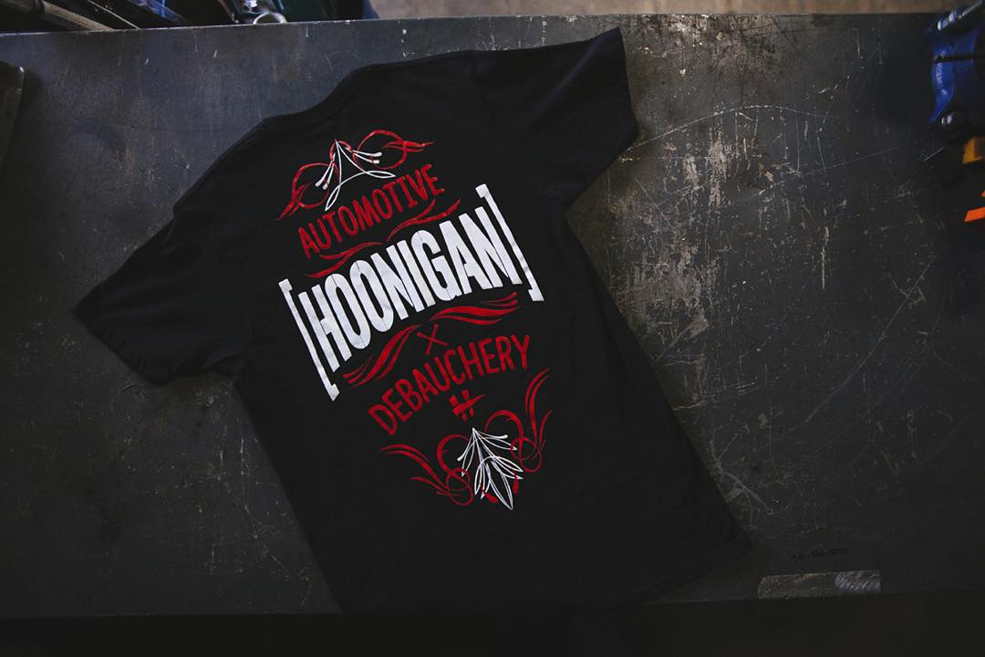 Hoonigan is Automotive Debauchery. This ALL-NEW tee features a hot rod inspired back graphic and a small left chest logo. Check it out on #hooniganDOTcom.