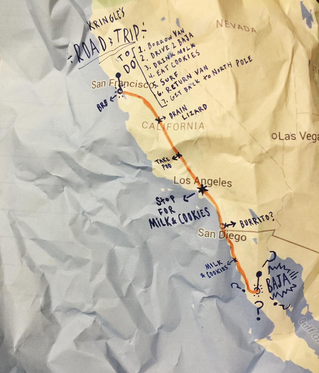 Our new friend Kris Kringle borrowed our van for his holiday road trip, but dropped his map. Looks like he's headed to where Stoked Goods began! Baja.