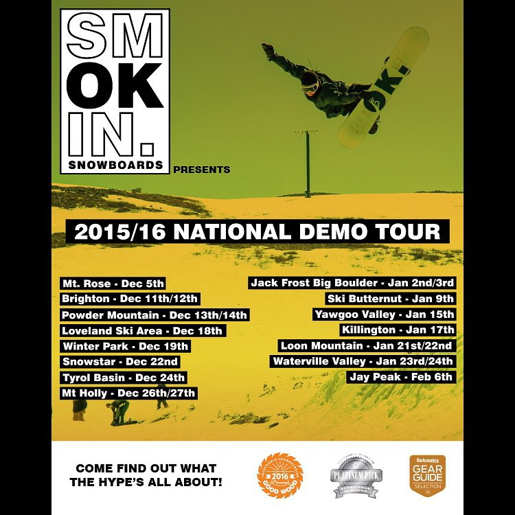 @smokinsnowboards #SmokinNationaDemoTour come try our boards and see what the hype is all about. #GoodWood2016 | #PlatinumPick | #BestOfTest | #mellomagnetraction | #3yearwarranty