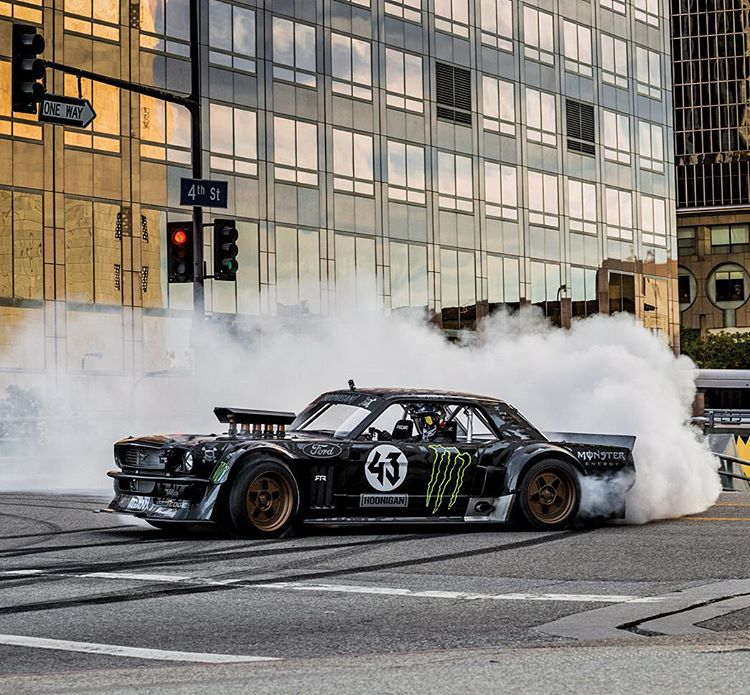 Five-time #XGames medalist @KBlock43 is going to drift @ESPN HQ in his 1965 Ford Mustang Hoonicorn RTR on Sunday! (