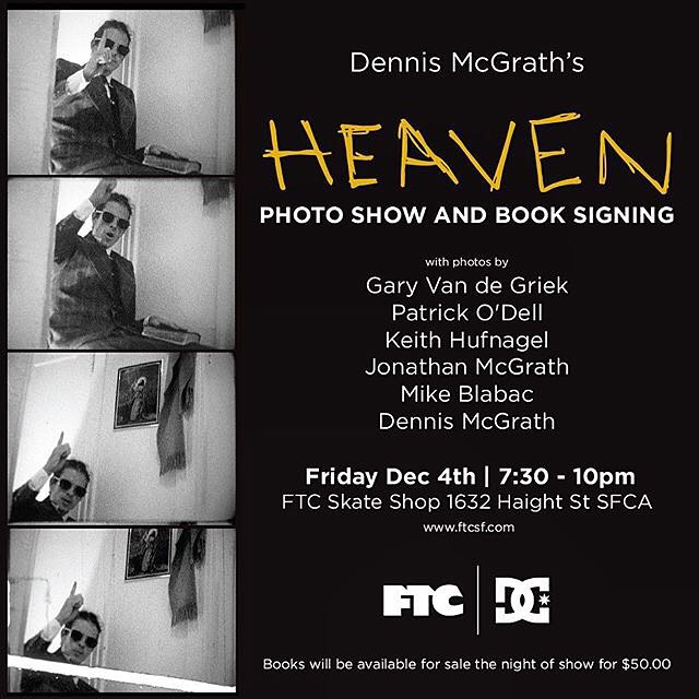 "Tonight in San Francisco, join us at @ftc_skateboarding for a photo show and book signing for @dennis_mcgrath's ""Heaven"" book, chronicling the life and times of Lennie Kirk. Learn more and shop our Heaven capsule collection at dcshoes.com/heaven #DCShoes"