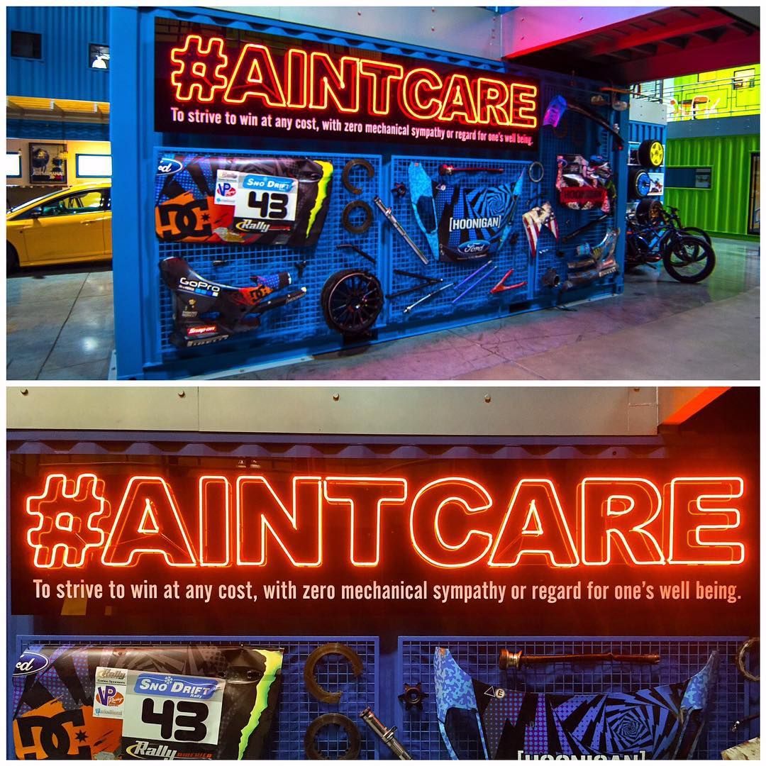 """Came back to the #HRD_HQ this week to this: our #AINTCARE wall has been freshly updated! """"AINTCARE"""" is the adopted battle cry of the Hoonigans to never give up, and to go for a win at any cost. Racers who possess the """"just ain't care"""" mentality have..."""