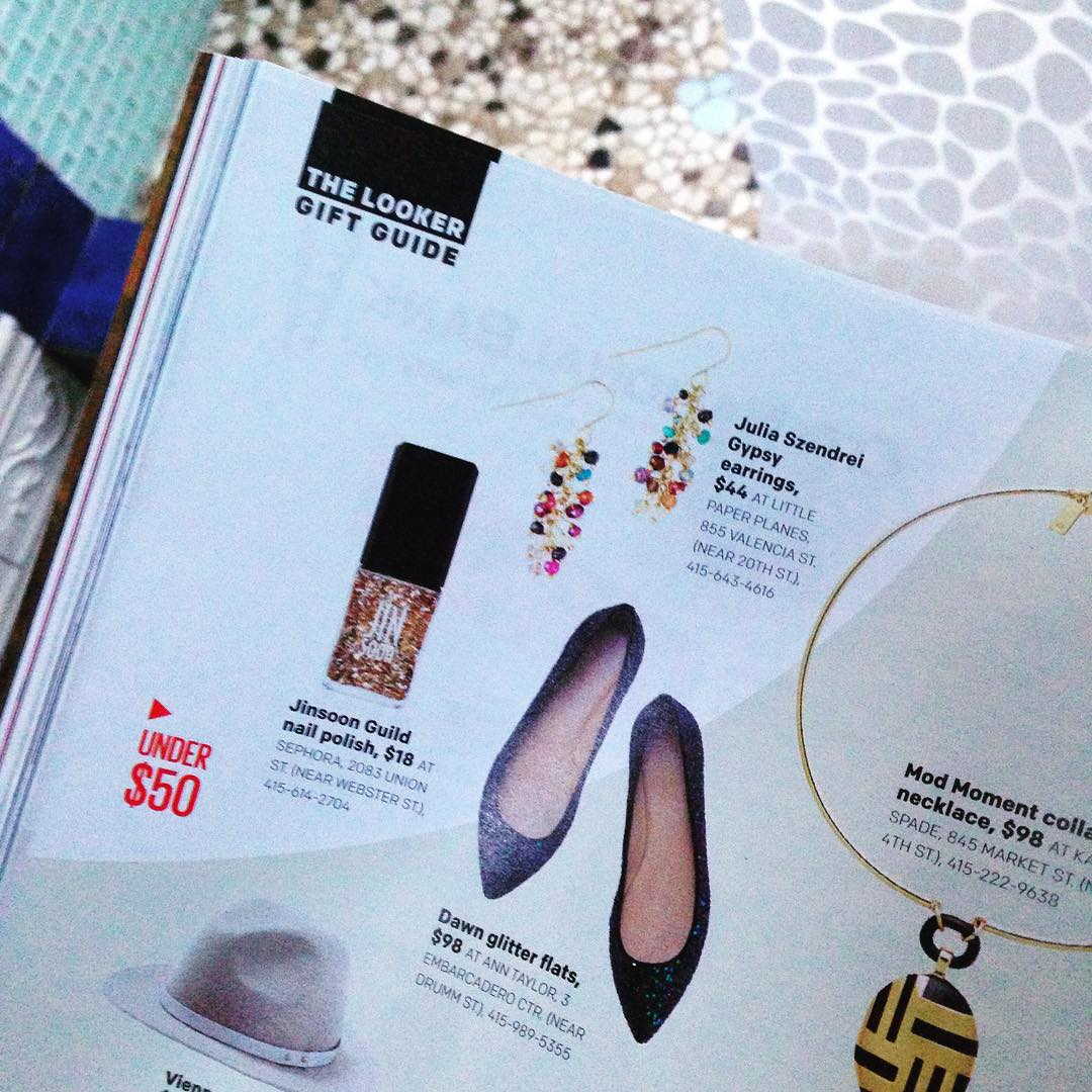 Touched with this months San Francisco Magazine spotlight with our Gypsy earrings! (Yes! I'm featured in this months women in power issue!!! Top of the gift guide for women!!!! Ah!) Can't wait for tonight's Power issue event at Cafe Du Norde!  @sfmagazine