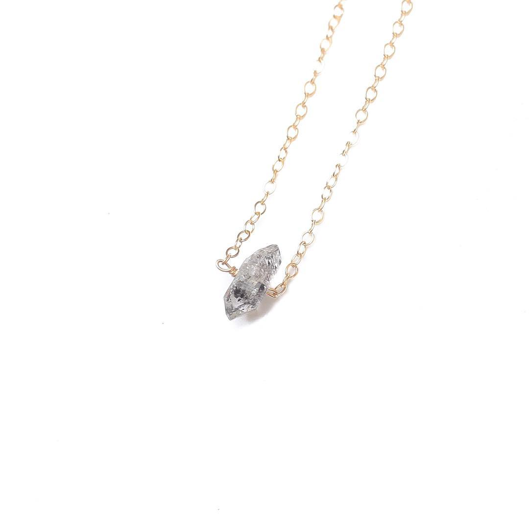 Herkimer Diamond Necklace.  Strength and clarity.  Black Tourmaline Rutile throughout.  Visit the shop for some crystal healing! #Herkimer #diamond #before9 #juliaszendrei #fieldandanchor