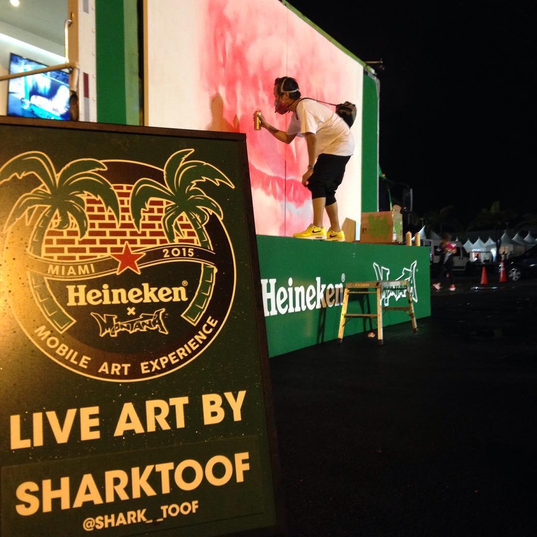 @shark__toof live painting for @heineken @heineken_us & @montanacans • • #artbasil #artbasilmiami #basil  #Miami #SPRATX #sharktoof #art #mural #streetart #montanacans #heineken