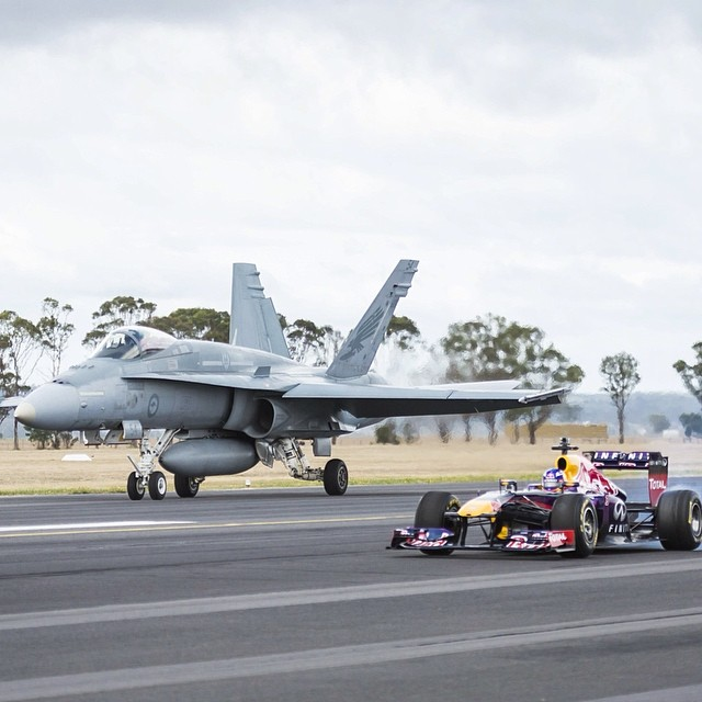 Take off this weekend. #f1 #danielricciardo #raaf #redbullracing