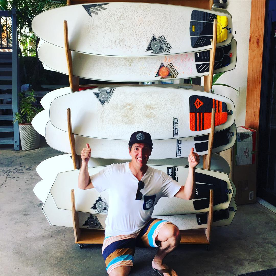 "#Happiness is...a wall of @tomo_surfboards to pick from,  and wearing boardshorts in Dec. ☀ ️We are back in Hawaii to check out and document  all the "" hot"" sustainability efforts being prepared for the upcoming #PipelineMasters contest, (the 3rd and..."