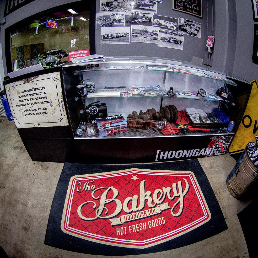 The #donutgarage Bakery's skate shop inspired sticker counter. We're OPEN today from 12pm-5pm, stop by to check out our Bakery exclusive collection of gear, cars and maybe even some burnouts. #supporthooniganism _______ 621 Golden Ave  Long Beach, CA...
