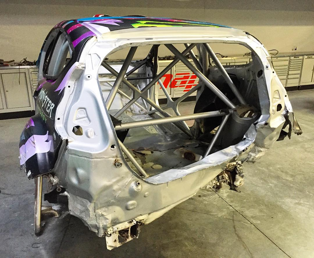Ford Fiesta RX43 shell stripped and ready to fly back to M-Sport in England to get repaired/straightened out. Tanner punted me into a wall in the final race of the last GRC round, which meant I was a sitting duck - and was hit several times from the...