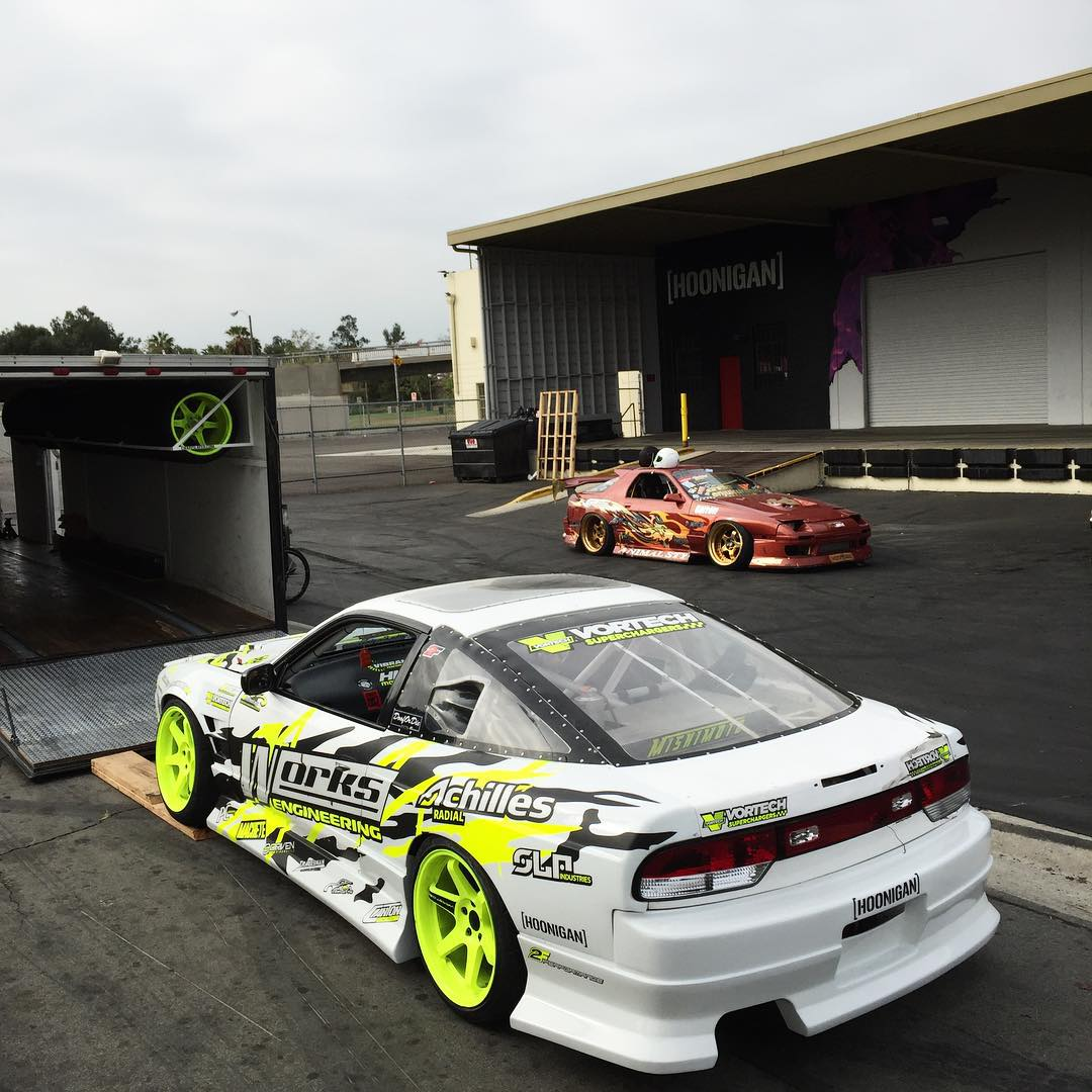 Our dudes @chairslayer and @hertlife loading up  their party cars to spend the day at Willow Springs. Any of you thrashing this weekend? #godrive #donutgarage