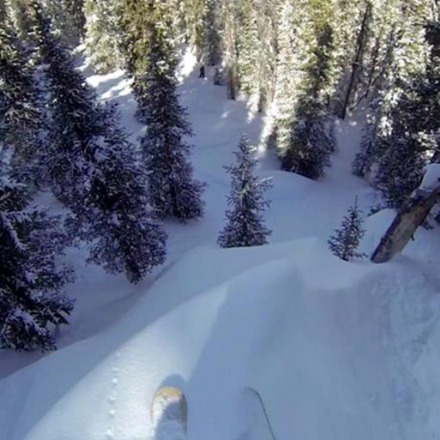 Big #Kylie #powder line in the #Colorado backcountry @nacho1023 #orangehot #bigwinter #gobig