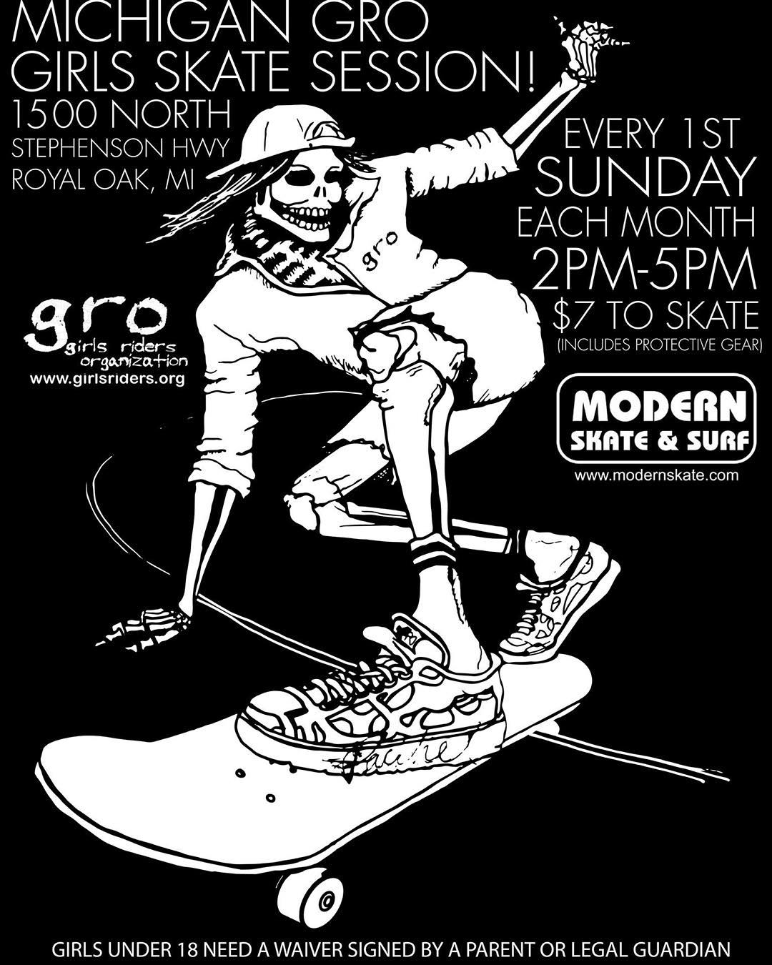 Session tomorrow with the @michigangrocrew ladies @modernskate