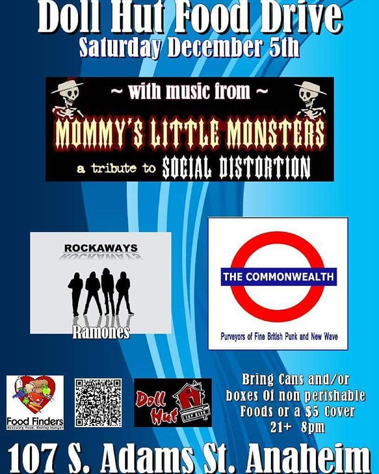 Tonight!!! Come see some great bands for a great cause. Food drive at the Doll Hut in Anaheim. Mommy's Little Monsters a tribute to Social Distortion is playing.  #bbr #bbrsurf #bbrsurfwear #buccaneerboardriders #dollhut #anaheim #fooddrive...