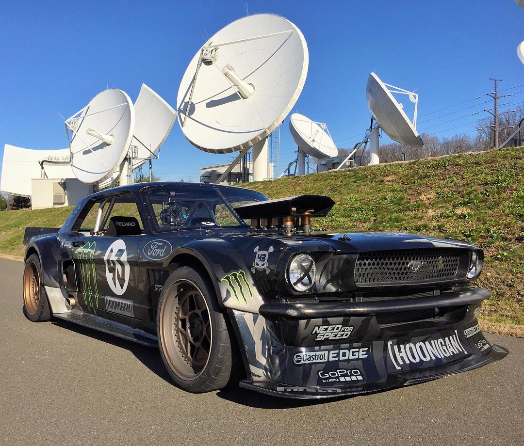 Beauty shot of my Ford Mustang Hoonicorn RTR today in a VERY unique and highly guarded location: ESPN's satellite dish farm on campus in Bristol, Connecticut