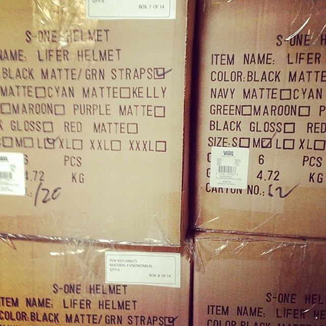 Fresh batch of #s1 #lifer #helmets heading to the #vans #skatepark. #skateboarding #s1helmets #skatehelmets
