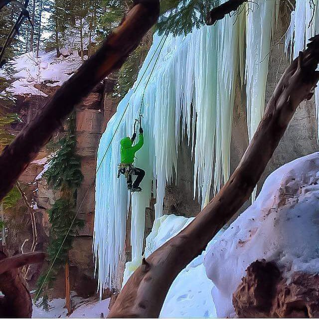 Just because we make whitewater and snow helmets doesn't mean we don't enjoy and support other outdoor pursuits!  Here is one of our team riders Justin Ibarra taking a break from going down to climb up. #iceclimb #apex