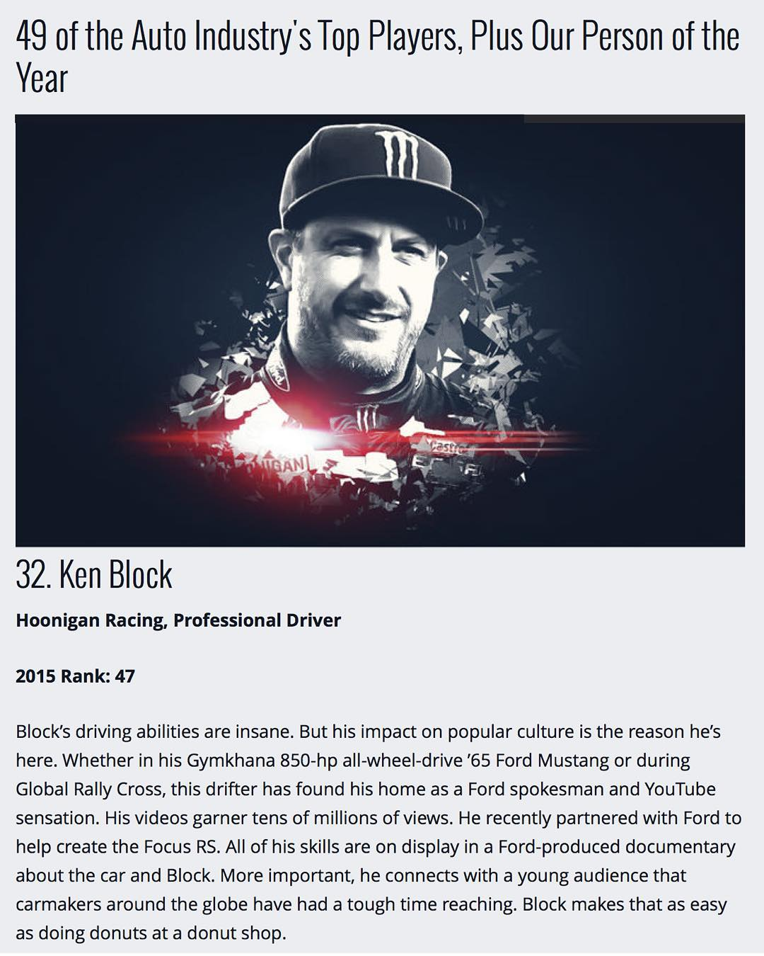 I've made the @MotorTrend Power List for the second year in a row, AND jumped up 15 spots from last year. Damn, that's an honor! Thanks for the kind words, MT. It's also pretty awesome to be the only racecar driver on that list! Check out the full list...