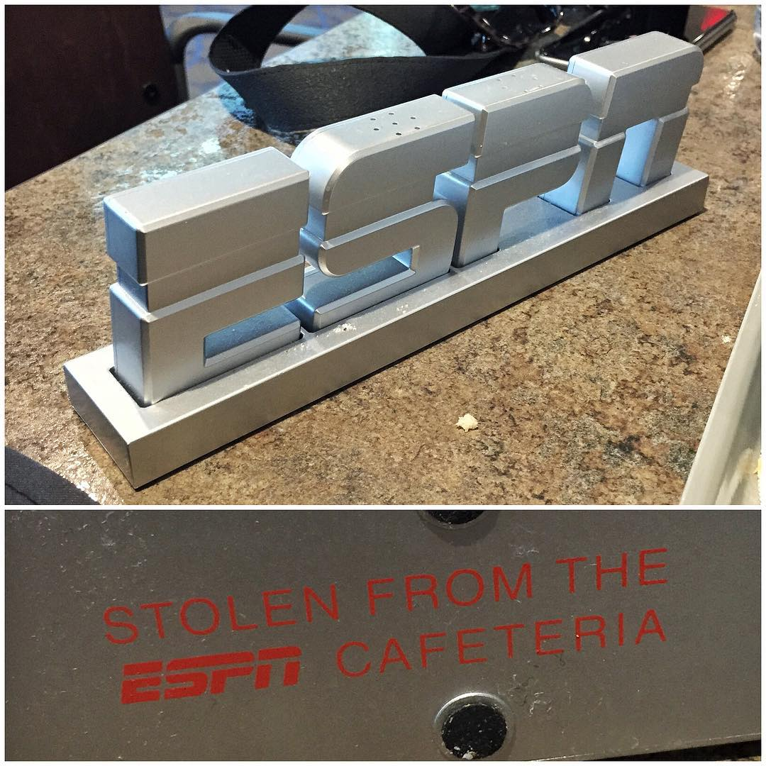 "Apparently, these salt-n-pepper shakers in the ESPN campus cafeteria are a pretty hot commodity. I couldn't help but ""borrow"" them for my house in Park City. I sort of got the impression from one of the chefs that that's what all athletes do when they..."