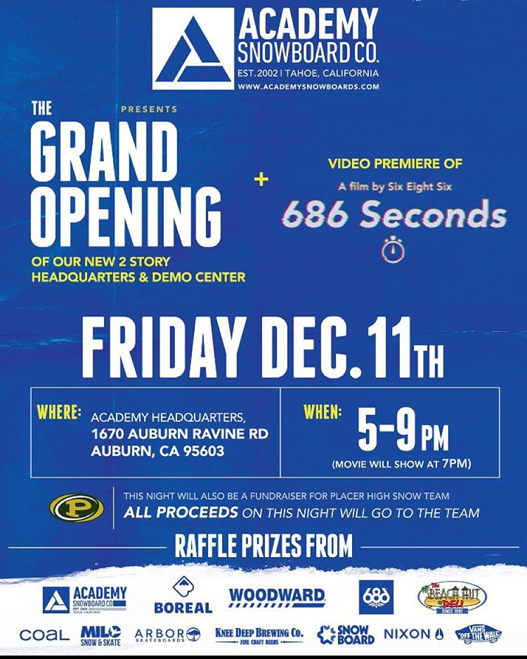 Make sure you get to our new 2 story showroom and Demo center this Friday Dec. 11th!! We are premiering the @686 video, giving out raffle prizes, with catering by @beachhutdeliauburn80 and drinks from @kneedeepbrewingco #supportlocal