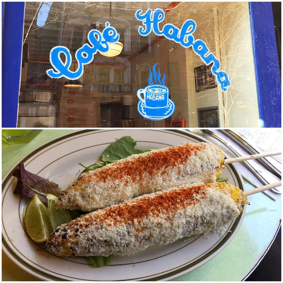 "One of my top ""must do"" things every time I come to New York City: immediately consume an order of Cafe Habana's ""grilled corn Mexican style."""